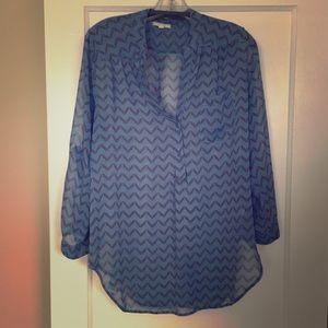 Blue Chevron Sheer Tunic